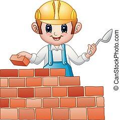 constructeur, dessin animé, homme