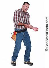 constructeur, douleur, bras
