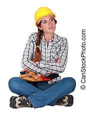 constructeur, ennuyé, femme