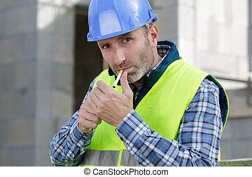 constructeur, fumer, site, cigarette, construction