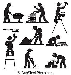 constructeur, gens, icônes