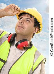 constructeur, haut, regarder, progrès, ou, ingénieur