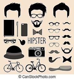 constructeur, hommes, lunettes, style., différent, haut, créateur, etc., ensemble, icône, vecteur, homme, coupes cheveux, hipster, faces, robe, plat