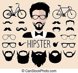 constructeur, hommes, lunettes, style., différent, haut, mâle, créateur, etc., ensemble, icône, vecteur, coupes cheveux, hipster, faces, robe, plat