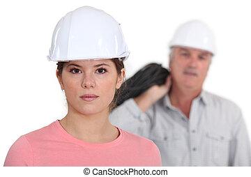 constructeur, jeune, étudiant, femme
