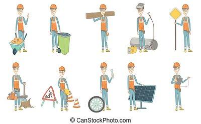 constructeur, jeune, caucasien, vecteur, illustrations, set.