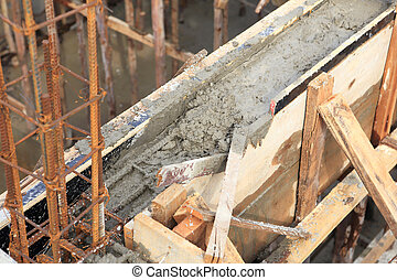 constructeur, maison, ciment