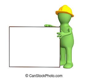constructeur, marionnette, cadre, vide, 3d