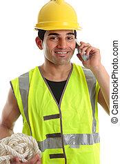 constructeur, ouvrier construction, heureux