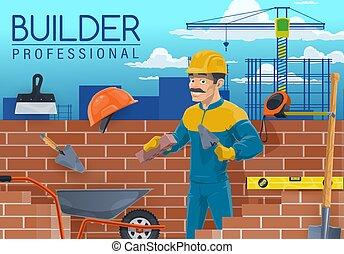 constructeur, ouvrier, construction, outils, maçon