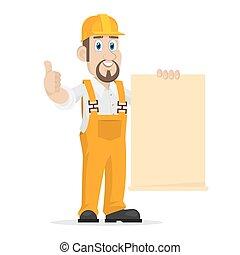 constructeur, papier, feuille, propre, spectacles