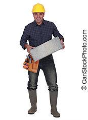 constructeur, porter, bloc, brise