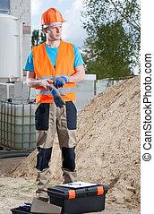 constructeur, prêt, travailler