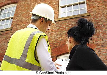 constructeur, propriétaire, arpenteur, propriété, discuter, ...
