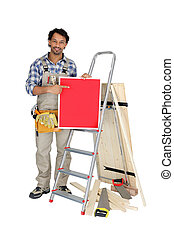 constructeur, vide, haut, tenue, signe