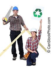 constructeurs, à, a, recycler, signe