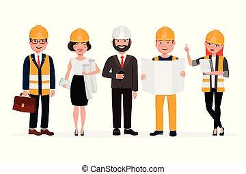 constructeurs, illustration., mécanique, arrière-plan., gens, vecteur, isolé, dessin animé, blanc, ingénieurs, travail groupe, plat, caractères, techniciens