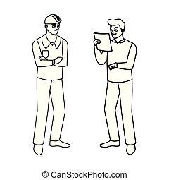 constructeurs, ouvriers, constructors, mâle, caractères