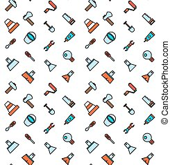 Constructing and building icons seamless pattern