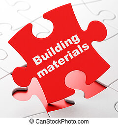 Constructing concept: Building Materials on puzzle background
