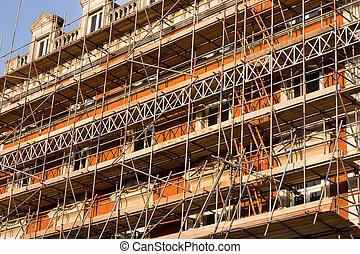 construction, échafaudage, bâtiment.
