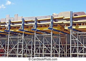 construction, échafaudage, pont