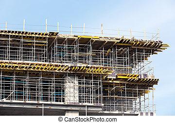 construction, échafaudage, site