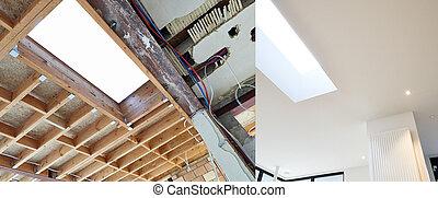 construction, étapes, toit