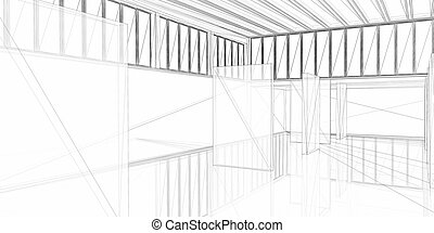 construction., 抽象的, 現代, -, 概念, 建築, designing., 建築である, 3d