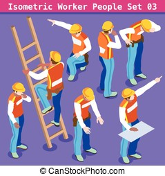 Construction 03 People Isometric - Construction Worker...