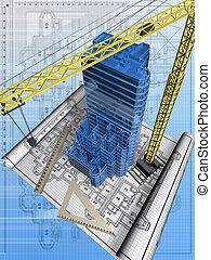 Construction 1 - Conceptual image of the house blueprint
