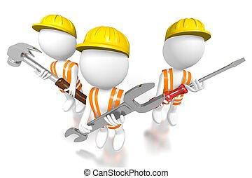 construction, 3d, équipe