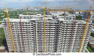 construction, aérien, site, vue