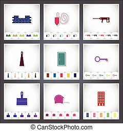 Construction. A set of flat stickers with shadow on white background