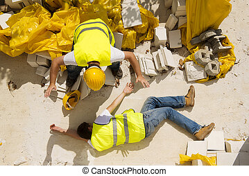 Construction accident - Construction worker has an accident...