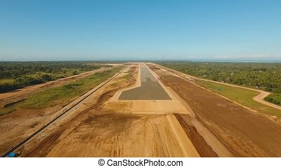 aerial footage construction new airport terminal on Panglao Philippines. Construction of a landing strip. Landing strip.
