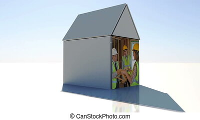 Construction and building montage presented on 3d house illustration