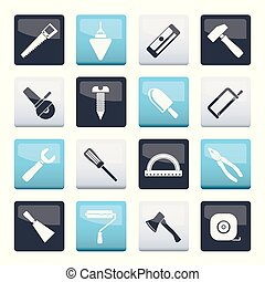 Construction and Building Tools icons over color background over color background
