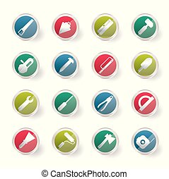 Construction and Building Tools icons over colored background