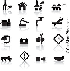 construction and diy icon set - construction and diy black...