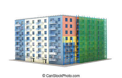 Construction and insulation of residential building with forests and green grid. 3d illustration