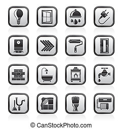 Construction and renovation icons - Construction and home...
