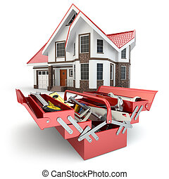 Construction and repair concept. Toolbox with tools and...