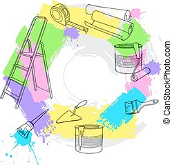 Construction and repair tools. Vector illustration
