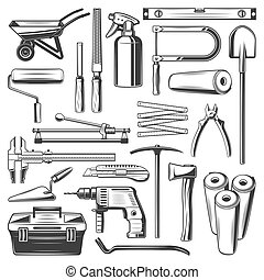 Construction and repair work tools, vector icons