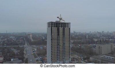 construction, appartement, crépuscule, bâtiment