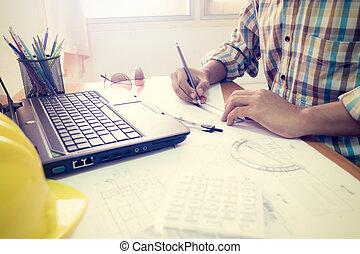 construction, architecte, bureau fonctionnant, plan