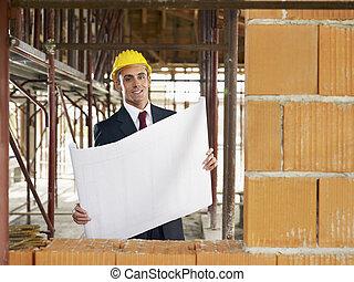 construction, architecte, site