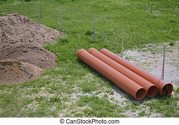 Construction Area with Plastic Pipes
