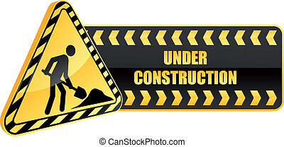 construction, avertissement, icône, signe